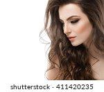 young beautiful woman face... | Shutterstock . vector #411420235