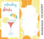 summer beach bar design menu... | Shutterstock .eps vector #411424597