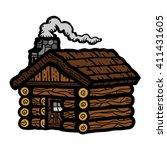 rustic wooden log cabin in... | Shutterstock .eps vector #411431605