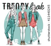 vector set with trendy girls.... | Shutterstock .eps vector #411440245