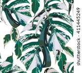 monstera marble leaves seamless ... | Shutterstock .eps vector #411445249