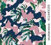 camo and tropical marble leaves ... | Shutterstock .eps vector #411445255