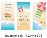 set of summer travel fliers... | Shutterstock .eps vector #411446905