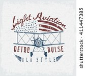 retro aviation grunge vector... | Shutterstock .eps vector #411447385