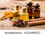 bottle of aroma essential oil... | Shutterstock . vector #411449017