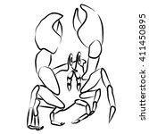 crab black vector illustration... | Shutterstock . vector #411450895