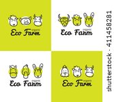 vector set of cute eco farm... | Shutterstock .eps vector #411458281