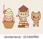 kawaii animals set  part 3.... | Shutterstock .eps vector #411460984