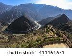 scenic omega bend of yangtze...   Shutterstock . vector #411461671
