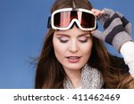 woman skier girl wearing warm... | Shutterstock . vector #411462469