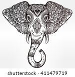 vintage mandala vector elephant ... | Shutterstock .eps vector #411479719