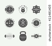 set of gym logos  labels and... | Shutterstock .eps vector #411481405