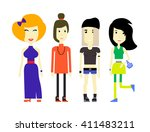flat illustration of young... | Shutterstock .eps vector #411483211