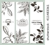 tea banner collection. vector... | Shutterstock .eps vector #411483361