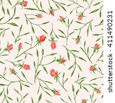 pattern of the roses twigs | Shutterstock .eps vector #411490231