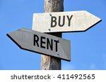 rent and buy signpost | Shutterstock . vector #411492565