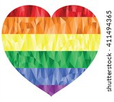 gay and lesbian people rainbow... | Shutterstock .eps vector #411494365