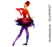 ballerina dancing. watercolor... | Shutterstock .eps vector #411494527