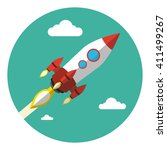 rocket launch background. flat... | Shutterstock .eps vector #411499267