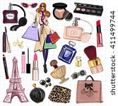 hand drawn images cosmetics and ... | Shutterstock .eps vector #411499744