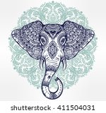 vintage mandala vector elephant ... | Shutterstock .eps vector #411504031