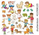 child and pet cartoon. eps10... | Shutterstock .eps vector #411508135