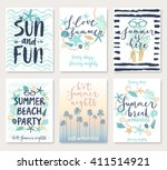 summer hand drawn calligraphyc... | Shutterstock .eps vector #411514921