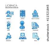 set of modern education thin... | Shutterstock . vector #411521845