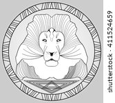lion head in circle frame ... | Shutterstock .eps vector #411524659
