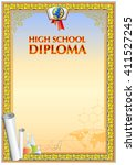 empty diploma blank  floral and ... | Shutterstock .eps vector #411527245