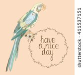 hand drawn vintage parrot with... | Shutterstock .eps vector #411537151