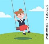 girl swinging on a rope swing.... | Shutterstock .eps vector #411539671