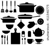 silhouettes of kitchen tools... | Shutterstock . vector #411540775