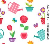 cute seamless pattern with... | Shutterstock . vector #411540799