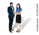 business people  man and woman... | Shutterstock .eps vector #411541645