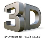 metal 3d logo isolated on white ... | Shutterstock . vector #411542161