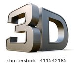 metal 3d logo isolated on white ... | Shutterstock . vector #411542185