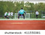 young soccer goalie | Shutterstock . vector #411550381