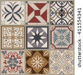 collection of 9 ceramic tiles... | Shutterstock .eps vector #411554341