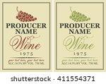 set of vector labels for wine... | Shutterstock .eps vector #411554371