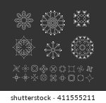sacred geometry. set of minimal ... | Shutterstock .eps vector #411555211