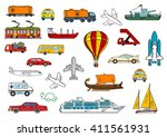 colored sketches of transport... | Shutterstock .eps vector #411561931