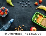 school lunch box with sandwich  ... | Shutterstock . vector #411563779