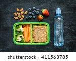 school lunch box with sandwich  ... | Shutterstock . vector #411563785