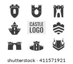 set of castle  fortress vector ...