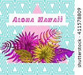 vector illustration of hawaii... | Shutterstock .eps vector #411578809