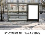 Blank White Mockup Of Bus Stop...