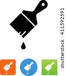 painting brush with drop of... | Shutterstock .eps vector #411592591