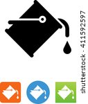 paint can with paint pouring... | Shutterstock .eps vector #411592597