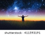 silhouette of man and stars sky.